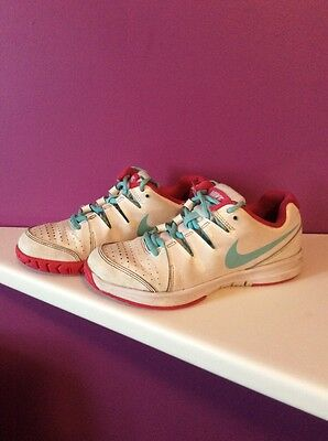 nike white pink turquoise tennis shoes trainers size 3