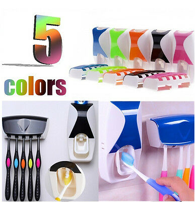 Automatic Toothpaste Dispenser + 5 Set Toothbrush Holder Wall Mount Stand Lazy
