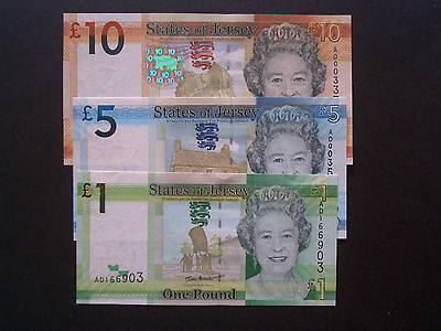 *Set of 3- 1st Issue**Jersey**   'UNC' Ian  Black  Banknotes**