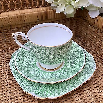 BELL CHINA 1930s FINE BONE CHINA TRIO CUP SAUCER PLATE SET - GREEN CORAL 4332