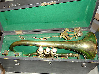 Antique Joseph Wallis brass cornet with various attachments in fitted wooden box