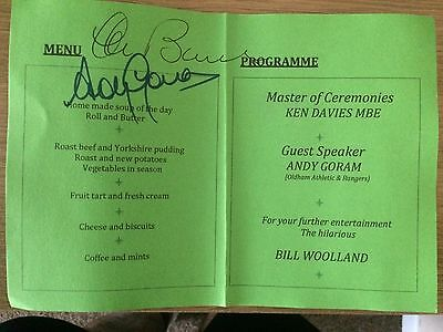 Andy Goram & Stan Bowles Signed Sportsman Dinner Programme.