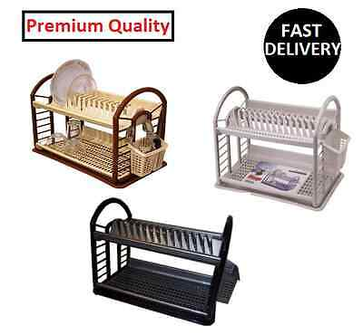 Dish Drainer with Dip Tray Plates Cutlery Rack Utensil Draining Tumbler Holder