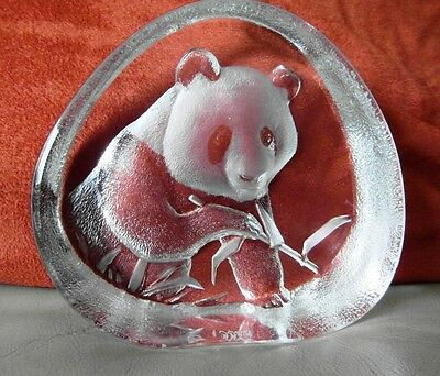 Mats Jonasson Sweden Signed and Numbered Panda Glass Paperweight
