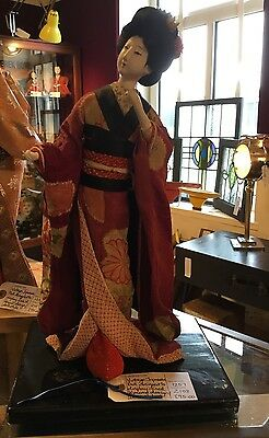 Vintage Japanese Kimono Doll In Red