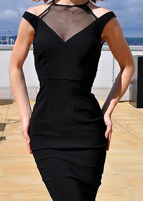 Bodycon Off Shoulder Black Cut Out Front Mesh Evening Cocktail Dress Size 10