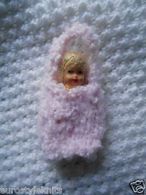 """Doll Clothes ooak fuzzy baby girl pink Cocoon 3"""" Fit Krissy, Kewpie piano 2.5"""""""