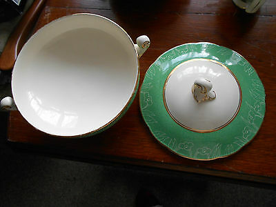 Art deco vintage green Crescent Ivory vegetable dish (George Jones)