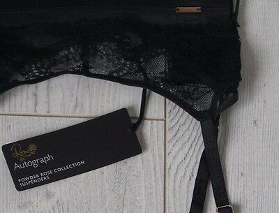 M&S Rosie, Autograph, Touch of Silk Lace Suspenders 12, Black