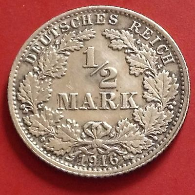 1916-A Germany Empire Silver 1/2 Mark Coin