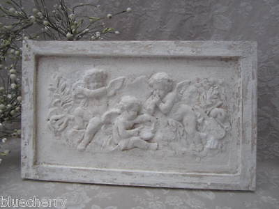 Divine Old FRENCH Chubby Winged Cherubs PLASTER PLAQUE Château ChicTimeworn