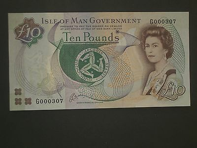 ****Low No.G**307 'AU' £10 Isle of Man  Cashen Banknote***