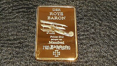 German Military Gold Plated Bullion Bar Der Rote Baron 1892 - 1918
