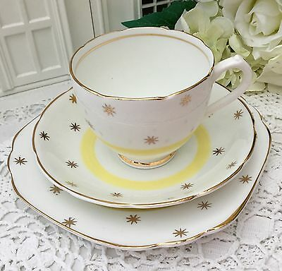 UNIVERSAL BONE CHINA 1950s TRIO CUP SAUCER PLATE SET WHITE YELLOW GOLD STAR 1103