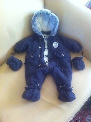 combi pilote col fourrure  3 mois CREEKS BABY TBE +moufle +chaussons