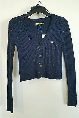 Prince & Fox 4 button sweater Navy in color size small juniors NWT