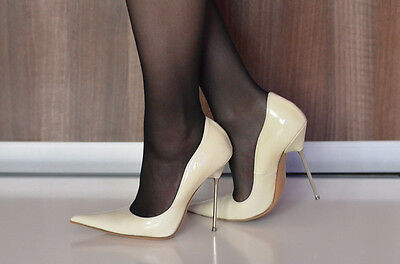 Made in Italy Balestrieri metal high heels shoes vero cuoio pumps pointy 37