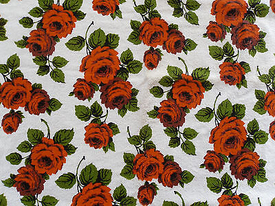"Vintage Fabric Orange Roses Towelling Fabric For 1960's Beach Wear 37"" X 37"" New"