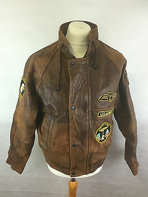 Vintage U.S.Army Airforce Brown Leather Flight Jacket Airborne With Patches XL