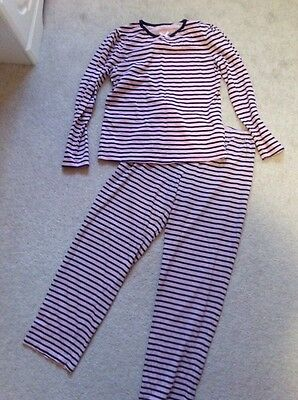 pink and navy stripe girls pyjamas age 10-11 years