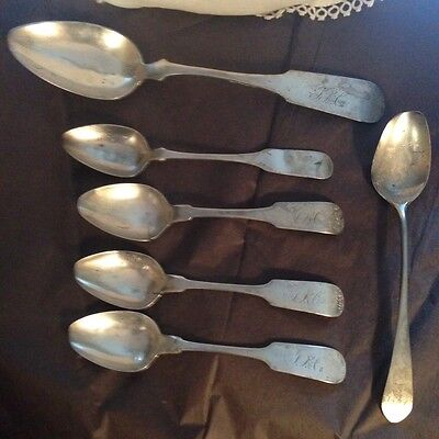 6 Coin Silver Spoons E Stebbins Co Freeman Norfolk