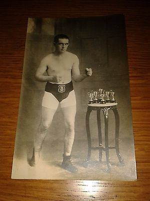 Vintage boxer with trophies postcard - lovely original boxing card Edwardian #2