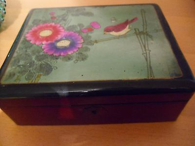 vintage Chinese lacquered handpainted  jewellery box/casket~signed