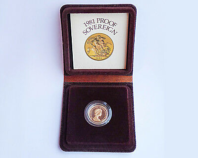 1981 Proof Full Sovereign Gold Coin in original box and Royal Mint COA.