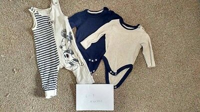 mickey mouse dungarees vests bundle baby boys george 6-9 months