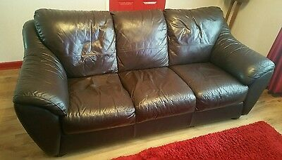 brown leather sofa 3 and 2 seater