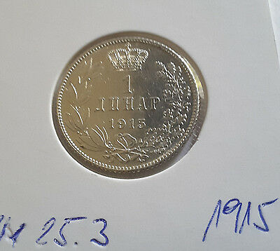 ***Serbien 1 Dinar 1915 KM#25.3 (coin alignment; with privy mark)***