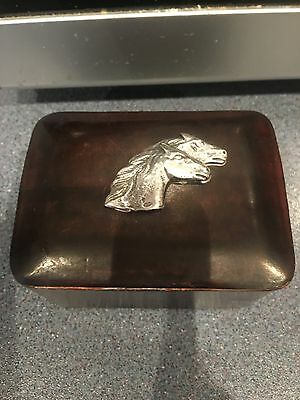 Antique Leather Box With Italian Silver Horses . Hallmarked 800 (Firenze Italy)