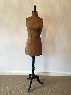 Antique Shop Mannequin Female Body On Tripod Base Vintage French Tailors Dummy