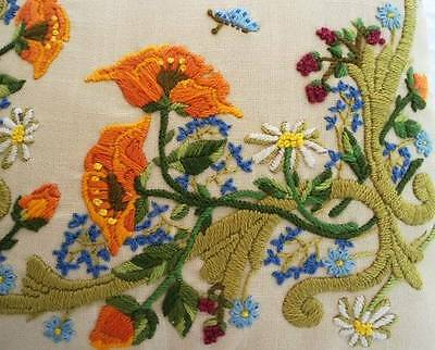 Vintage Hungarian Hand Embroidered Throw Pillow Orange Green Wool Flowers