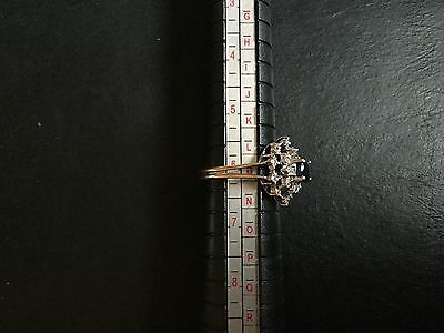 9ct yellow gold diamond and sapphire vintage Tiered ring