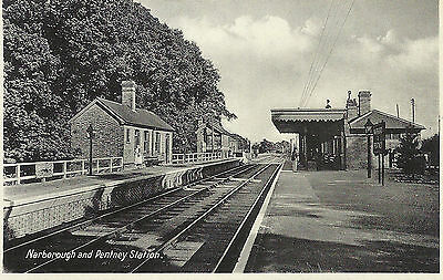 Vintage RP Postcard of Narborough & Pentney Railway Station, Norfolk