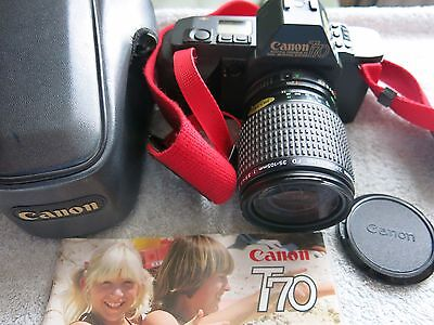 CANON T70 CAMERA WITH CANON ZOOM FD 35-105mm LENS AND CASE WITH INSTRUCTIONS