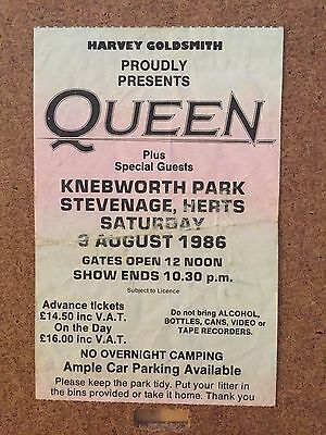 Queen Ticket for Knebworth (Last Ever Gig) 3rd August 1986 (Not a Repro)
