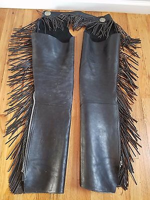 Vintage Black Leather Fringed Motorcycle Chaps  Free Shipping