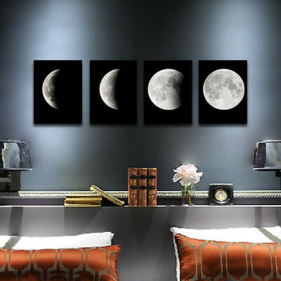 Modern Art Print on Canvas Home Wall Decor Abstract Photo Poster The Moon Framed