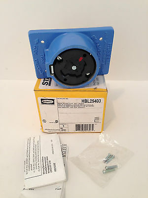*NEW* HUBBELL HBL25403 AC Receptacle, 30A, 600V, 4-Pole, 5-Wire
