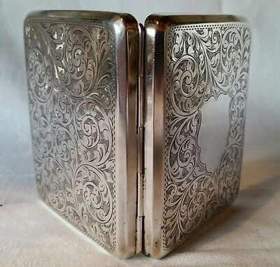 1911 UK Hallmarked Solid Silver Cigarette Business Card Case Art Nouveau Chester