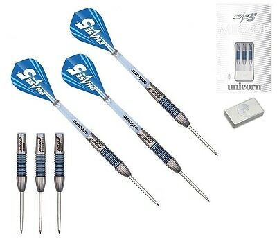 28g Unicorn Mirage Phase 5 Blue Ring 95% Tungsten Darts Set with Purist Wallet