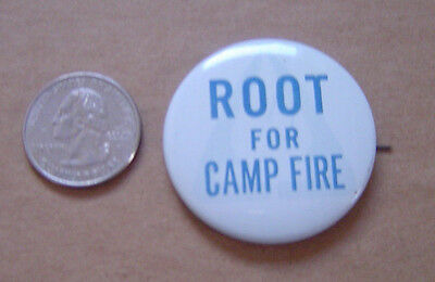 Vintage Root For Camp Fire Girls Hat Lapel Pinback Button