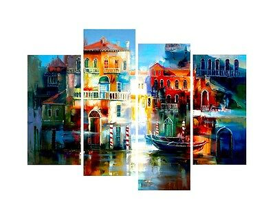 Painting Pictures Canvas Prints Wall Art Home Decor Abstract City Blue Framed