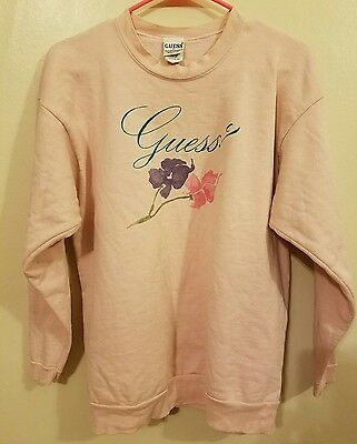 Vintage Guess Floral Pink Graphic Sweatshirt size Medium