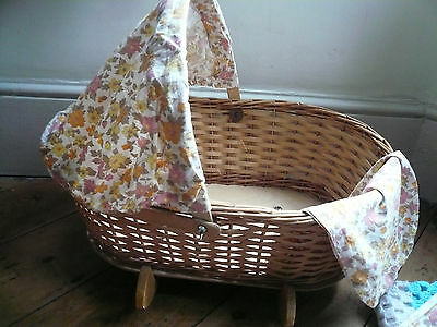 Vintage Baby Doll Crib Rocking Woven