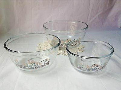 Anchor Hocking set 3 clear glass nesting bowls 1989 Pink Blue Basket Flowers USA