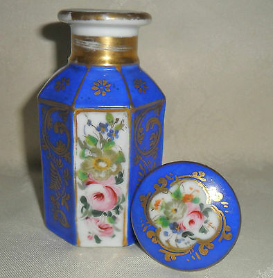 C19Th Porcelain Octagonal Floral Hand Painted And Gilded Perfume Bottle.