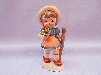 """Vintage Hummel Style 6"""" Girl With Flowers Figurine Ornament"""